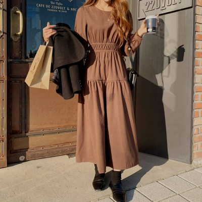 111973ベントダブルストラップロングワンピース[ontheriver] 送料0円! 大人可愛いデイリールック。韓国ファッションNo.1