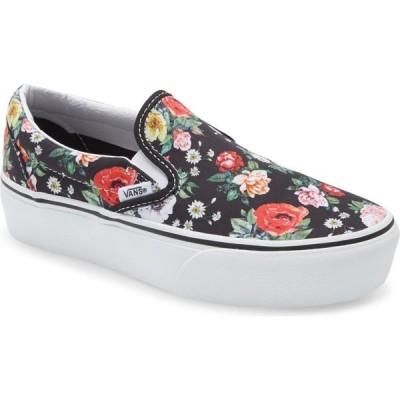 ヴァンズ VANS レディース スリッポン・フラット スニーカー シューズ・靴 Classic Slip-On Suede Platform Sneaker Black/True White Floral