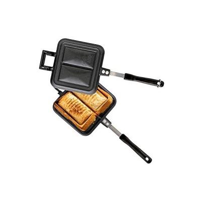 アイリスオーヤマ 具だくさん ホットサンドメーカー 直火式 ガス火専用 ダブル 内側プレス お手入れ簡単 ブラック 15.9×39×4.4cm GHS