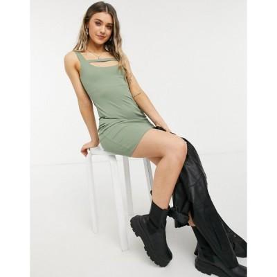 トップショップ ミニドレス レディース Topshop multi strap mini dress in khaki エイソス ASOS グリーン 緑