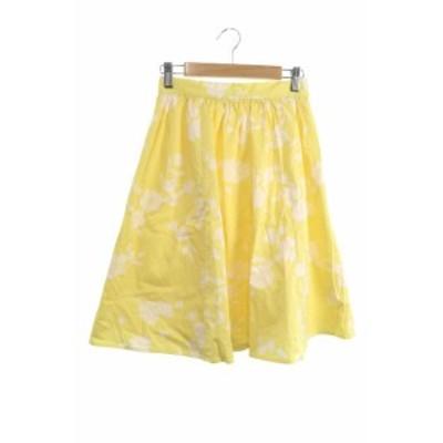 【中古】マーキュリーデュオ MERCURYDUO スカート フレア ひざ丈 花柄 タック F 黄色 イエロー /MS レディース