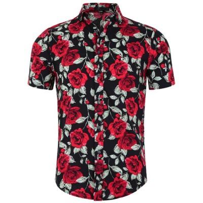 uxcell アロハシャツ メンズ ハワイアンシャツ 半袖 花柄 ボタンダウン ファッション ブラックローズ 50