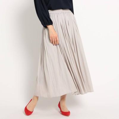 デッサン Dessin 【XS~Lサイズあり・洗える】パウダーサテンロングスカート (ライトグレー)