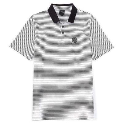 アルマーニエクスチェンジ メンズ ポロシャツ トップス Micro-Stripe Short-Sleeve Polo Shirt White