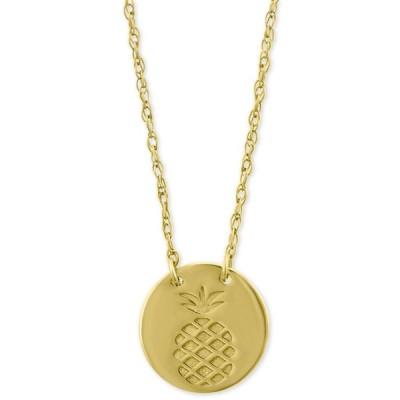 """メイシーズ Macy's メンズ ネックレス ジュエリー・アクセサリー Pineapple Disc Pendant Necklace in 10k Gold16"""" + 2"""" extender Yellow Gold"""