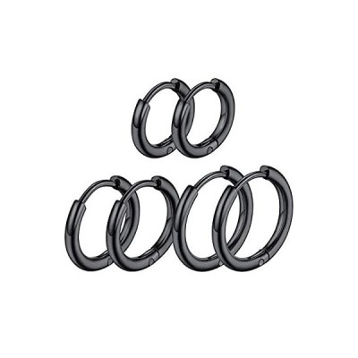 ChainsPro ステンレス ピアス メンズ 人気 リングピアス レディース ブラック 3ペア/セット 直径8/10/12mm 幅2mm