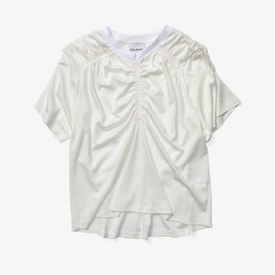 コロボス COLOVOS レディース Tシャツ トップス Gathered T-Shirt White