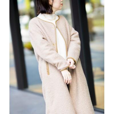 【軽いコート/ブークレとパイピングでデザイン◎】軽量ブークレパイピングコート