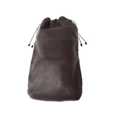 Piel Leather Drawstring Shoe Bag, Chocolate, One Size