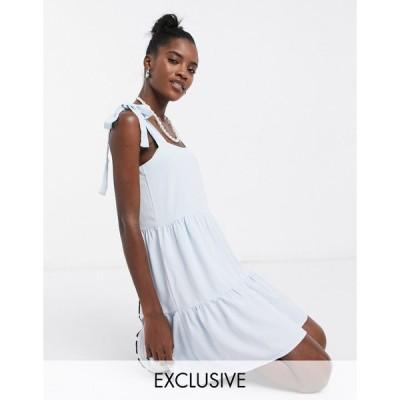 コリュージョン ミニドレス レディース COLLUSION tiered mini dress in pale blue エイソス ASOS ブルー 青