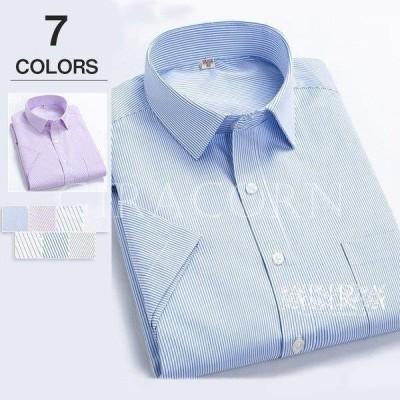 ワイシャツ メンズ 半袖 形態安定 ボタンダウン レギュラーカラー カッターシャツ