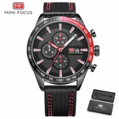 MINIFOCUSメンズ腕時計アナログクォーツ時計メンズ防水スポーツ時計メンズ腕時計ブラックレザーストラップレロジオMa Red