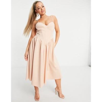 エイソス ミディドレス レディース ASOS DESIGN corset cami prom midi dress in beige エイソス ASOS ベージュ