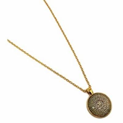 Islam Pendant Necklace with Link Chain AMN-205 Allah Arabic 99 Names Asma-ul Husna Muslim Fashion Jewelry (Gold)