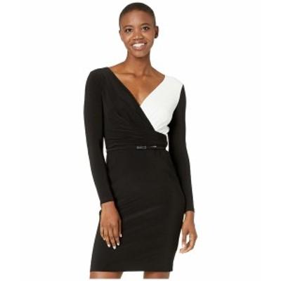 ラルフローレン レディース ワンピース トップス Two-Tone Jersey Dress Black/Lauren White