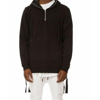 ファッション トップス Jaywalker Mens Solid Deep Black Size Large L Raw-Edge Hooded Jacket