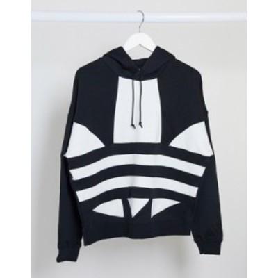 アディダス レディース パーカー・スウェット アウター adidas Originals large Trefoil logo cropped hoodie in black Black