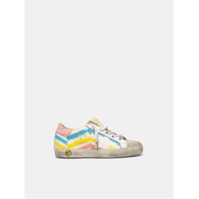 GOLDEN GOOSE / GOLDEN GOOSE Kids Super-Star sneakers/white leather-multi color flag print KIDS シューズ > スニーカー