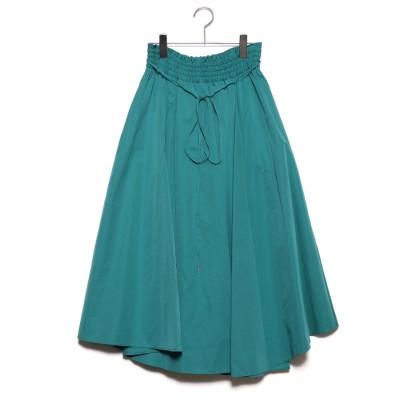 ミラオーウェン Mila Owen アシンメトリーヘムフレア巻きスカート (グリーン)
