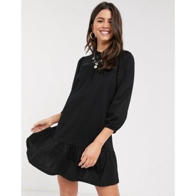 リバーアイランド レディース ワンピース トップス River Island long sleeve embroidery mini smock dress in black Black