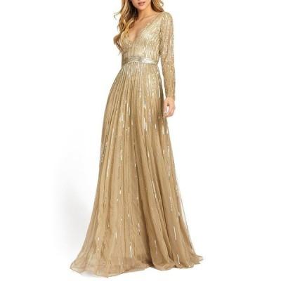 マックダガル ワンピース トップス レディース Embellished V-Neck Gown Taupe/Gold