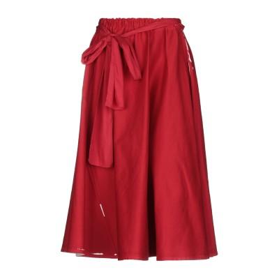 プラダ PRADA 7分丈スカート レッド 40 コットン 98% / ポリウレタン 2% / 牛革(カーフ) 7分丈スカート