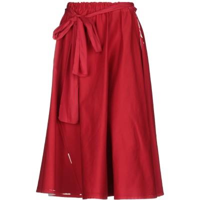 プラダ PRADA 7分丈スカート レッド 38 コットン 98% / ポリウレタン 2% / 牛革(カーフ) 7分丈スカート