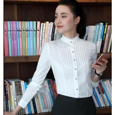 フォーマル 立襟 Yシャツ 新作 安い ワイシャツ シャツ ブラウス レディーススキッパーシャツ 細身 学生 上着 オフィス OL  就活 大きいサイズ 通勤 面接