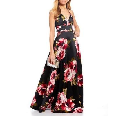 シークインハーツ レディース ワンピース トップス Satin Spaghetti Strap Lace-Bra-Back Floral Ballgown