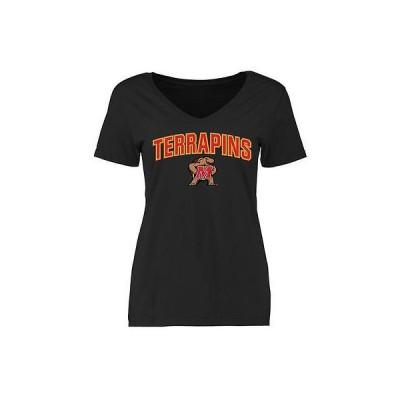 ファナティックス ブランディッド カレッジ 大学 スポーツ NCAA アメリカ USA 全米 Maryland Terrapins レディース ブラック Proud Mascot スリム Fit Tシャツ