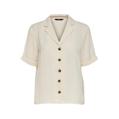 オンリー シャツ レディース トップス Button-down blouse - eggnog