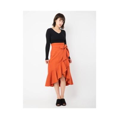 CECIL McBEE フリルロングスカート オレンジ