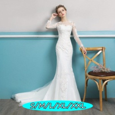 ウェディングドレス 結婚式ワンピース 編み上げタイプ 長袖 丸襟 透け感レース イベント 着やせ ハイウエスト aライン マキシドレス