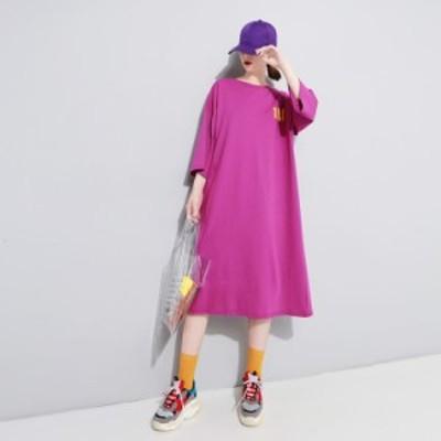 ロングワンピース ひざ丈 体型カバー フレア 五分袖 Tシャツ ロゴ 大人可愛い ガーリー カジュアル 韓国ファッション トレンド レディー