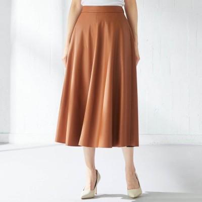 ベルメゾン フェイクレザースカート キャメル M L aw