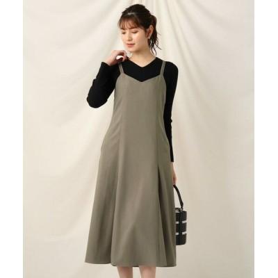 Couture Brooch/クチュールブローチ ダブルストラップキャミフレアワンピース タバコブラウン(054) 38(M)