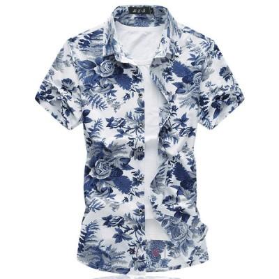 40代 50代 半袖シャツ メンズ カジュアルシャツ 花柄シャツ アロハシャツ トップス 半袖 夏 大きいサイズ 2019新作