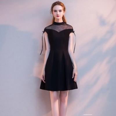 [送料無料] ドレス レディース ブラック ノースリーブ シースルー 袖リボン 無地 ブラック パーティー お呼ばれ 20代 30代