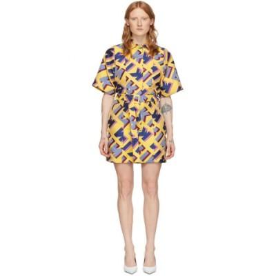 キリン Kirin レディース ワンピース ワンピース・ドレス Multicolor Jacquard Typo Dress Yellow/Blue