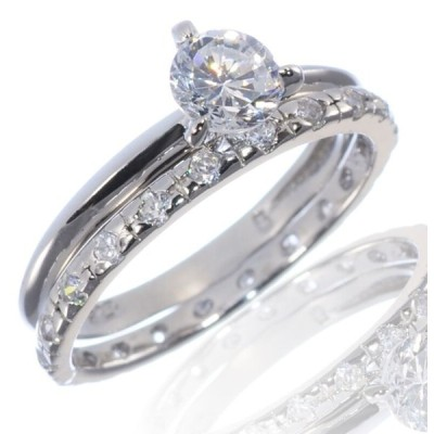 エンゲージ メモリアル ペアリング シルバー Brilliant Round Cut White Sapphire Engagement Ring Set w  Band Sterling Silver