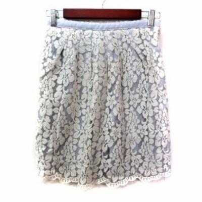 【中古】アプワイザーリッシェ Apuweiser-riche フレアスカート ミニ レース 刺繍 1 グレー 白 ホワイト レディース
