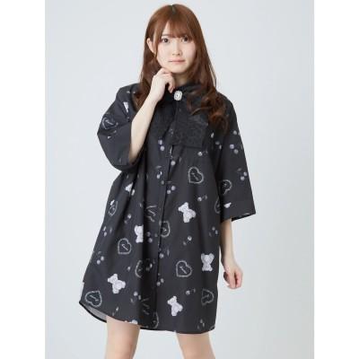 アンクルージュ Ank Rouge くまちゃんプリントBIGシャツ (ブラック)