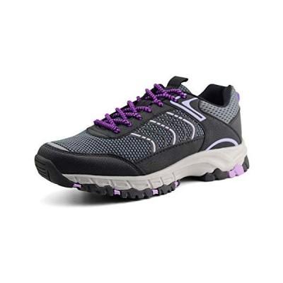 JABASIC Womens Hiking Shoes Lightweight Outdoor Trekking Knit Shoes (6,Grey/Purple)【並行輸入品】
