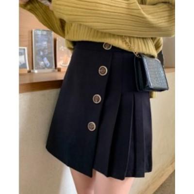 プリーツスカート ミニスカート ハイウェストスカート コットン ショート丈 大きいサイズ ゆったり ボタン 春秋 黒 グレー 大人女子 10代