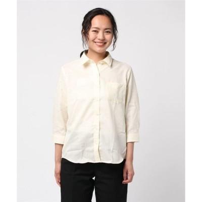 形態安定ノーアイロン  レギュラー衿 七分袖やわらかガーゼシャツ