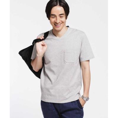 【ナノ・ユニバース】 《汗染み防止》Anti Soaked ヘビーVネックTシャツ メンズ グレー S nano・universe