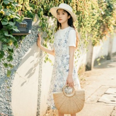 花柄ジャンパースカート(ホワイト) 春夏  大人 かわいい カジュアル OL