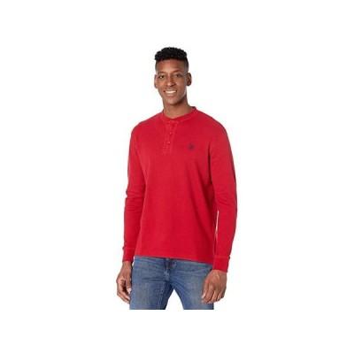 U.S. POLO ASSN. Long Sleeve Solid Thermal Henley メンズ シャツ トップス Apple Cinnamon