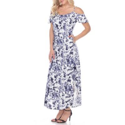 ホワイトマーク レディース ワンピース トップス Women's Cold Shoulder Tie-Dye Maxi Dress
