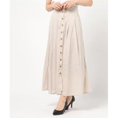 スカート ポプリン花柄フレアマキシスカート